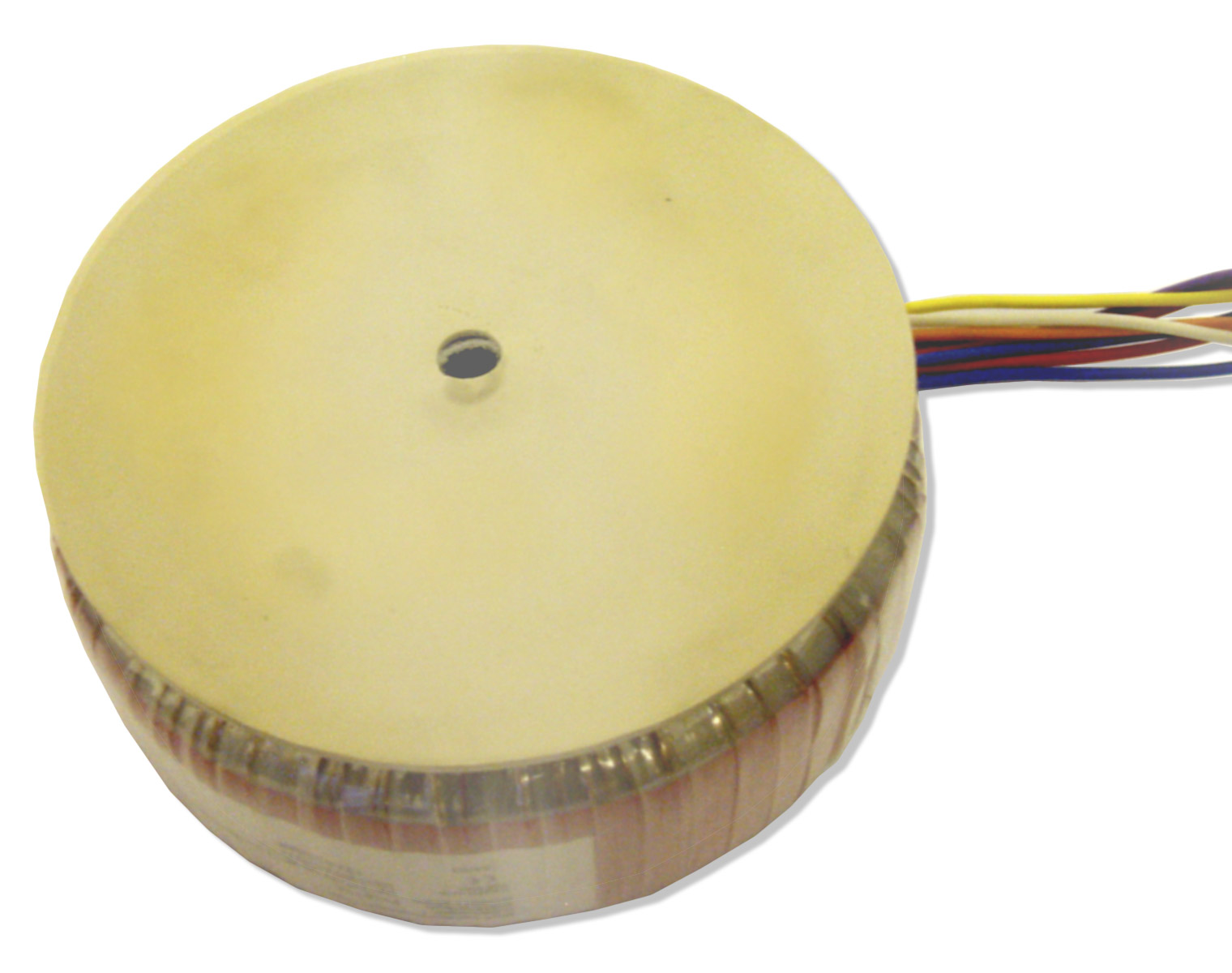 Centre potted toroidal transformer with rubber pad