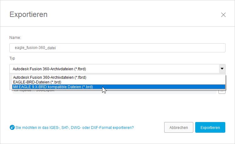 AUTODESK Fusion 360 EAGLE-Daten Export
